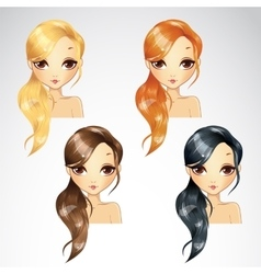 Set of hair tail on one side vector