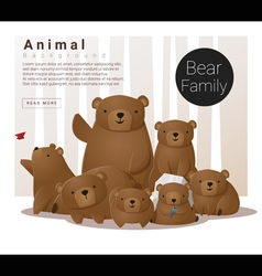 Cute animal family background with bears vector