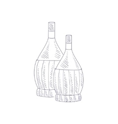 Two braided wine bottles hand drawn realistic vector