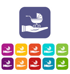 baby pram protection icons set vector image vector image