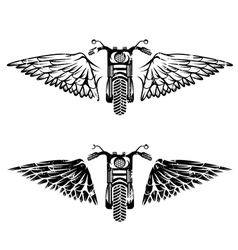 Biker theme grunge labels set with bike and wings vector