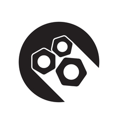 Black icon with nuts and stylized shadow vector