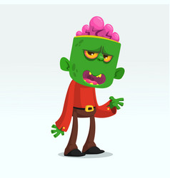 cartoon funny green zombie growling vector image