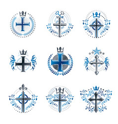 Christian crosses emblems set heraldic coat of vector
