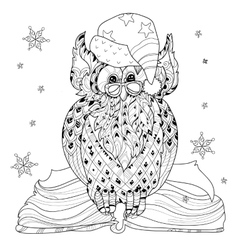 Christmas Owl on book vector image vector image