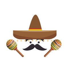Colorful cartoon face with maraca and mexican hat vector