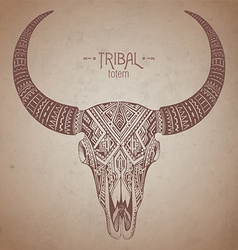 Decorative indian bull skull in tribal style on vector