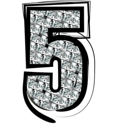 Diamond font number 5 vector