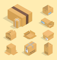 Different box isometric icons isolated pack vector
