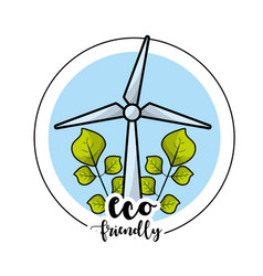 Ecological windpower with leaves to environment vector