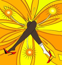 Feet and yellow flower vector