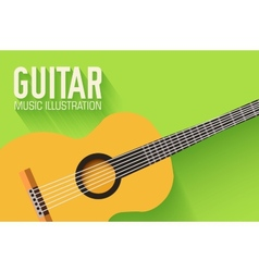 flat classic guitar background concept vector image vector image