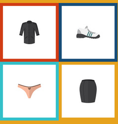 Flat icon dress set of uniform stylish apparel vector