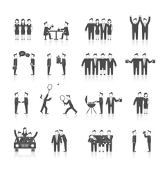 Friends icons black vector