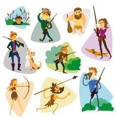 Funny cartoon hunters set Hunter cartoon set vector image