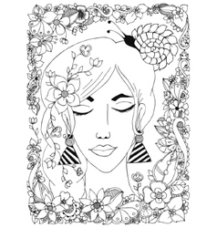 girl with flowers zentangl vector image vector image