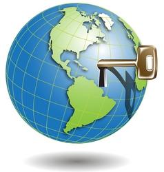 golden key in globe vector image vector image