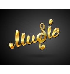 Golden music logo on black vector image