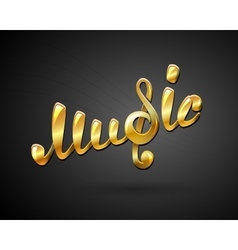 Golden music logo on black vector image vector image