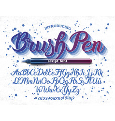 hand drawn brush-pen alphabet letters vector image vector image