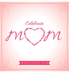 Happy mother day banner card with heart vector image