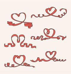 Heart ribbon set vector image vector image
