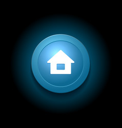 Home button modern glossy blue design vector