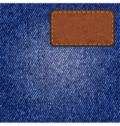 Jeans texture with leather label vector image vector image