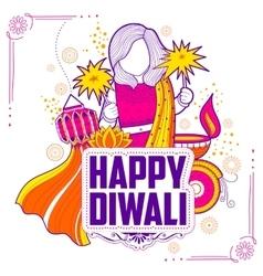 Kid celebrating happy Diwali Holiday doodle vector image vector image
