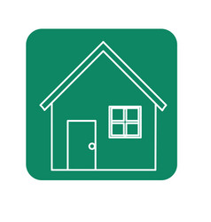 Label nice house with door window and roof vector