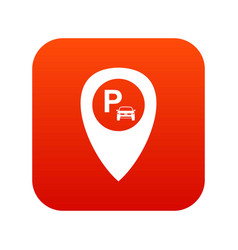 map pointer with car parking icon digital red vector image