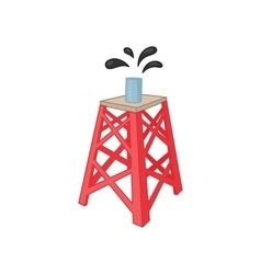Oil rig icon in cartoon style vector