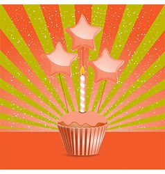 Orange birthday cupcake vector