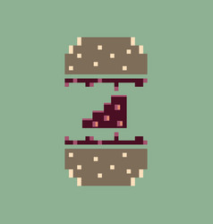 Pixel icon in flat style cheeseburger vector