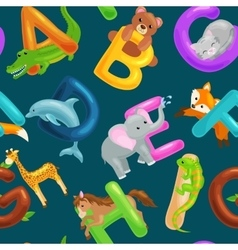 Seamless pattern with cartoon animals alphabet for vector