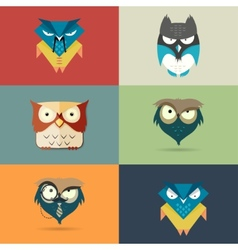 Set cute stylized cartoon icons of owls vector