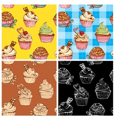set of seamless patterns with decorated sweet cupc vector image vector image