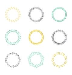 Set of silhouette circular laurel wreaths vector image