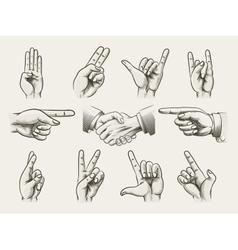 Set of vintage style hand gestures vector image