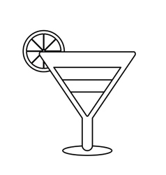 Soft drink cocktail lemon and straw outline vector
