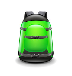 sports green backpack isolated on white vector image vector image