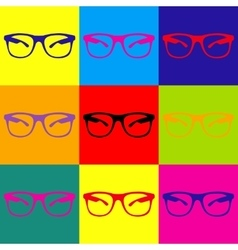 Sunglasses sign pop-art style icons set vector