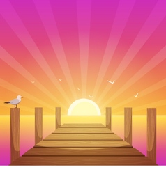 Sunset At Pier vector image vector image