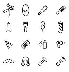 thin line icons - barber vector image