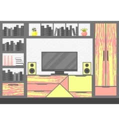 with TV console vector image