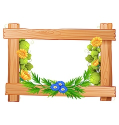 Wooden frame with flowers and leaves vector image vector image