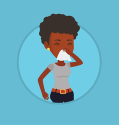 Young african-american sick woman sneezing vector