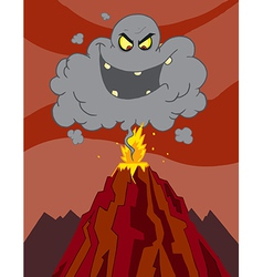 Cartoon erupting of volcano with a black cloud vector
