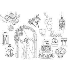 Big set of wedding decorative elements and vector image
