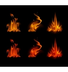 Set of yellow orange red fire flame on background vector